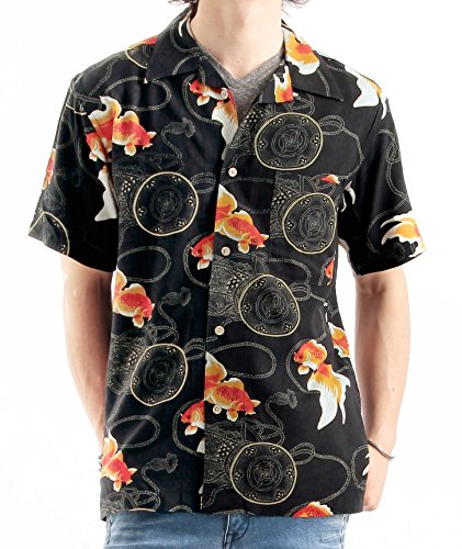 和柄アロハシャツ 花柄 アロハ柄 オープンカラー レーヨン 半袖 カジュアル Mサイズ B柄ブラック