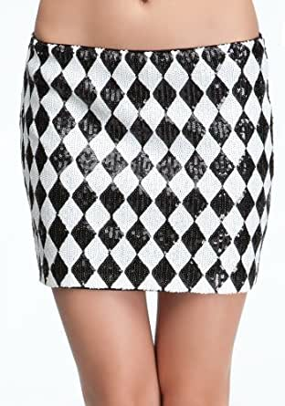 bebe Harlequin Sequin Mini Skirt Weekend Sportswear Black/white-xl