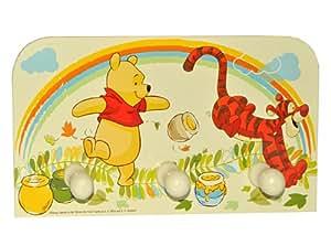 Garderobenhaken Holz - Disney Winnie the Pooh - Kinder 3 Haken Kinderzimmer Kleiderhaken Wandhaken Garderobe Garderobehaken