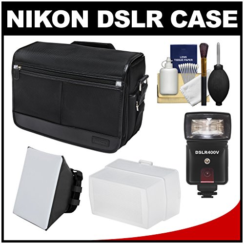 Nikon Dslr Camera/Tablet Messenger Shoulder Bag + Led Video Light & Flash + Softbox + Diffuser Kit For D3200, D3300, D5200, D5300, D7100, D610, D750, D810, D4S
