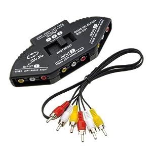 3 in 1 Composite RCA AV Audio Video Selector Switch Box Splitter,Black