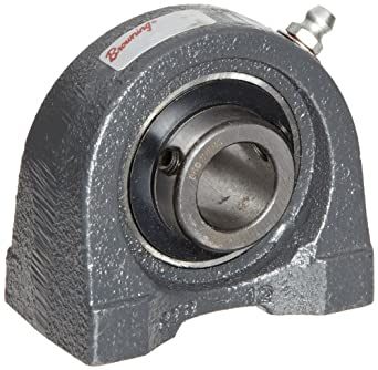 "Browning VTBS-223 Pillow Block Ball Bearing, 2 Bolt, Setscrew Lock, Contact and Flinger Seal, Cast Iron, Inch, 1-7/16"" Bore, 1-7/8"" Base To Center Height"