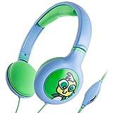 Audífonos iKross Kids 3.5mm con límite de volumen y cable de 3 pies, azul/verde