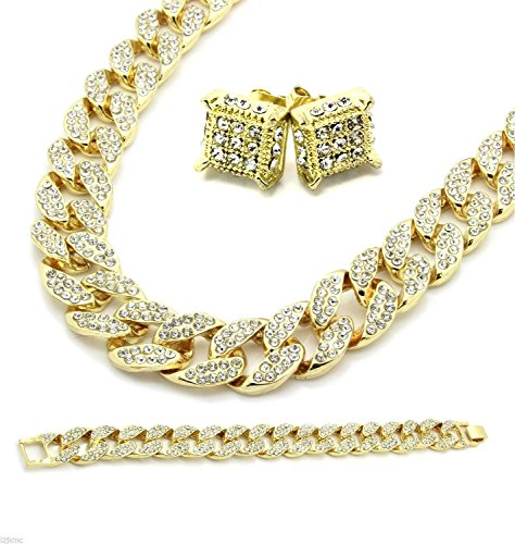 Mens Gold Tone Fully Cz Iced Out 15mm 30