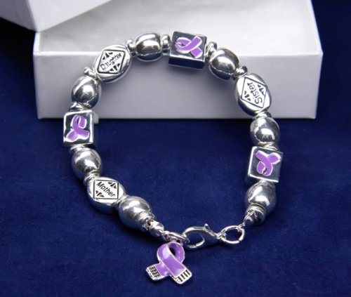 Purple Ribbon Bracelet-Mother, Sister, Daughter (18 Bracelets)