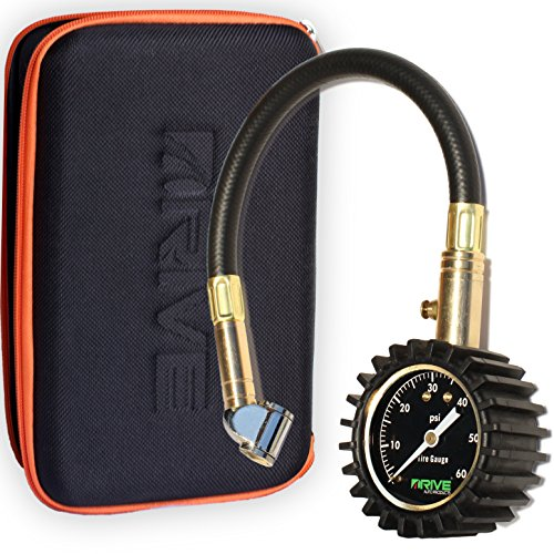 DRIVE® Tire Pressure Gauge & Case (60 PSI) - Best for Reading Accurate Car or Truck Tires, Portable Air Monitoring Tool is Rugged, Heavy Duty Dual Chuck and Top Garage or Shop Gift Kit - Guaranteed!