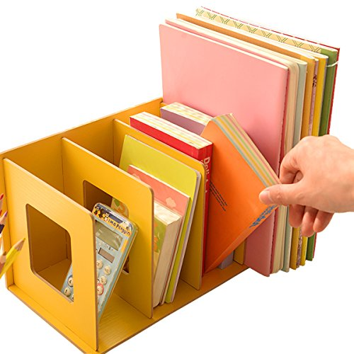 UQueen® Creative Wooden DIY Desktop Magazines and Books Storage Box Sorting Bookends Office Kitchen Dish Carrying Shelves (Lemon Yellow)