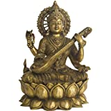 Goddess Saraswati Wearing Sari Seated on Lotus Seat - Brass Sculpture