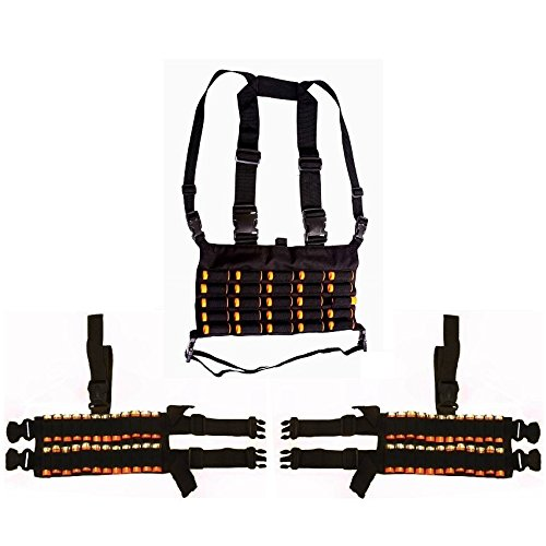 Ultimate Arms Gear Tactical Shotgun Package Holds 73 Shells Includes: Stealth Black Chest Rig 25 Round 12 & 20 GA Gauge Elastic Shotgun Shotshell Cartridge Ammunition Holder Hunting Harness Vest with Hidden Internal Document Map Utility Pocket + 2 Pack of 24 Shell Ammo Reload Carrier Thigh Dropleg Black Ambidextrous Adjustable Length Dual Drop Leg Straps (Soe Micro Rig compare prices)