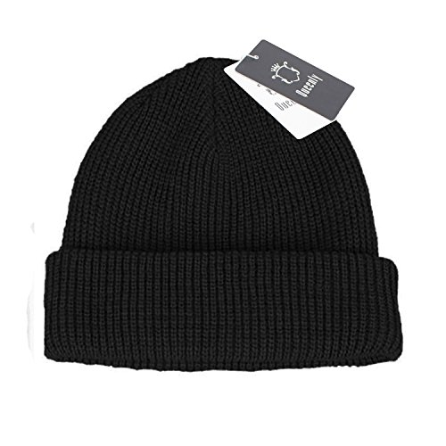 Queenly Winter Thick Rib Knit Hat, Stretch Slouchy Beanie Cap for Man and Woman, Black (Skull Cap Pattern Sewing compare prices)