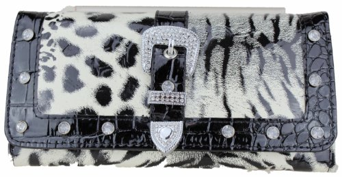 ExoticGlitter LYDC Women Purse L076 B Black & White Leopard Print Boxed Clutch Hand Shoulder Bag Artifical leather