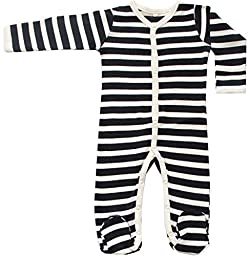 Organic Cotton Baby Long Sleeve Footie GOTS Certified (Black-Natural, 0-3m)