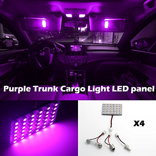 Partsam 4 Pcs 3528 36Led Led Light Panel Purple Car T10 Ba9S Festoon Dome Bulb Adapter For 2012 Chevrolet Impala Malibu