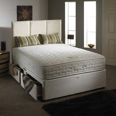 Happy Beds Natural Aloe Vera Divan Bed Set Memory Foam Pocket Sprung Mattress End Jumbo Drawer Headboard