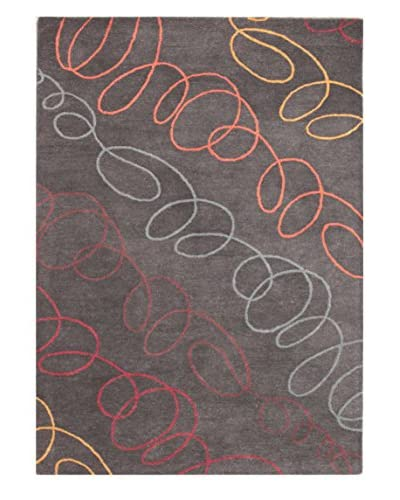 Squiggle Rug, Grey/Multi, 5' x 8'
