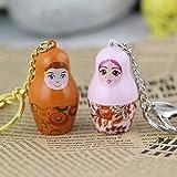 Maycom® Creative Fashion Romantic Couple Keychain Key Chain Ring Keyring Key Fob for Valentines Day Gift (Matryoshka Pink & Orange)