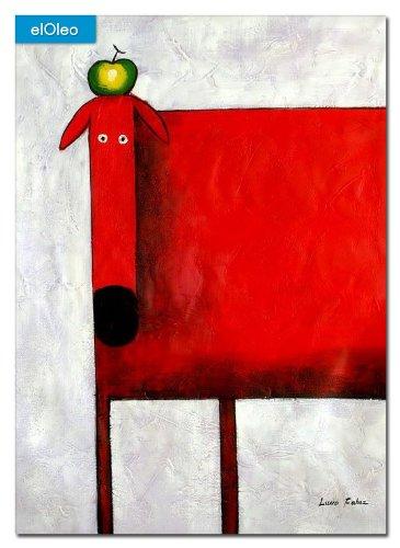 elOleo Pop Art – Der lustige rote Hund 110×80 Gemälde auf Leinwand handgemalt 83503A jetzt kaufen