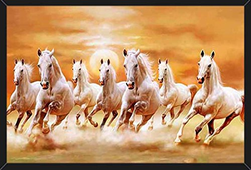 HungOver Running Seven Horses Painting Vastu Poster for Home & Office