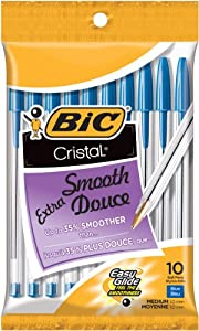 BIC Cristal Stic Ball Pen, Medium Point (1.0 mm), Blue, 10 Pens