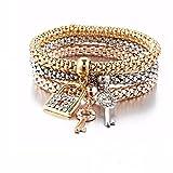Clearance ! Bracelet, Fitfulvan 2018 3pcs Elegant Charm Women Bracelet Gold Silver Rose Gold Rhinestone Bangle Jewelry Set (Multicolor) (Color: Multicolor, Tamaño: As Show)