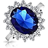 Bling Jewelry Royal Engagement Ring Simulated Sapphire Rhodium Plated
