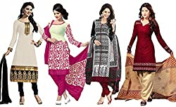 Sancom Combo pack of three colors (White,Pink,Black,Maroon) UnStitched Art Silk Dress Material