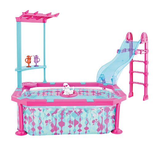 Barbie Glam Pool Blue Pink Playset With Slide Home Garden Spa Spa Accessories Water Slides