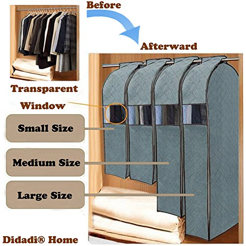 Didadi Moisture, Mildew, Dust Resistant Cloth Care Hanging Bag. Transparent Garment Clothing Organizer in Wardrobe. Storage Dust Protector Cover with Zipper [Large] Size (Garment Rack Bag compare prices)