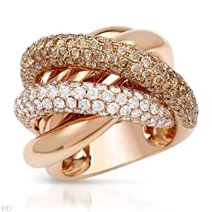 Cocktail Ring With 4.26ctw Genuine Clean Diamonds Crafted in 18K Rose Gold. Total item weight 21.4g (Size 7)