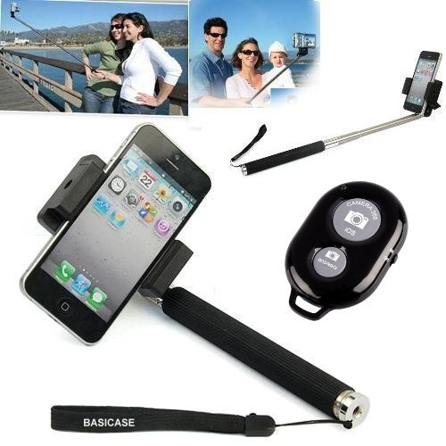 Basicase ™ Extendable Camera Selfie Self Portrait Shooting Pole Adjustable Handheld Monopod Mount Holder For Iphone 5S 5C 5 4S 4 Htc One Lg Sony Samsung Galaxy Mobile Cell Phone With Bluetooth Remote Camera Wireless Shutter Plus Alarm Clock Android App