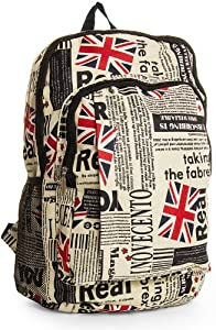 Big Handbag Shop Grand sac à dos étanche Style journaux et Union Jack