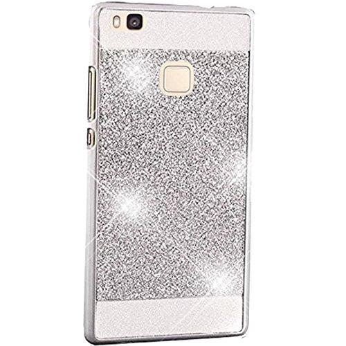 Semoss Luxury Bling Gliter Crystal Diamond Case for Huawei P9 Lite Ultra Slim Thin Hybrid Rhinestone Hard Back Bumper TPU Protective Shining Case Cover - White