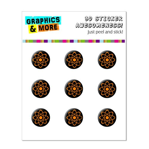 Graphics and More Atomic Symbol Orange Black Home Button Stickers Fits Apple iPhone 4/4S/5/5C/5S, iPad, iPod Touch - Non-Retail Packaging - Clear