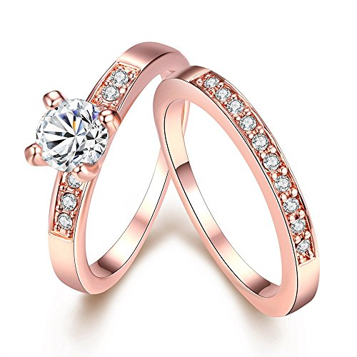 Eternity Love Women's 18K Rose/White Gold Plated Princess Cut CZ Crystal Engagement Rings Best Promise Rings Anniversary Wedding Bands for Lady Girl High Polish Finish Comfort Fit Size 7, JAR-020-A-7 (Platinum Wedding Band Couple compare prices)