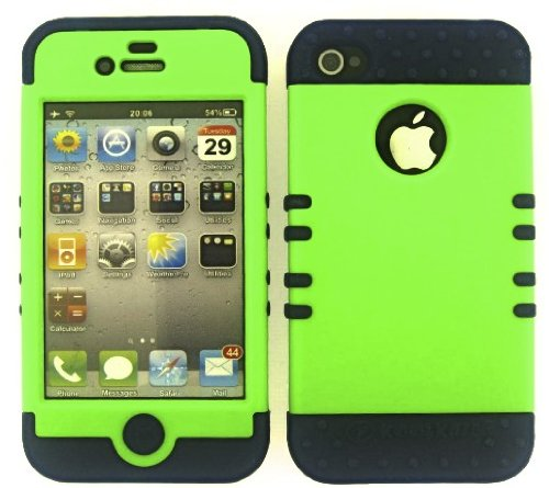 Shockproof Hybrid Cell Phone Cover Protector Faceplate Hard Case And Dark Blue Skin With Mini Stylus Pen. Kool Kase Rocker For Apple Iphone 4 4S Neon Lime Green Db-A006-Pd