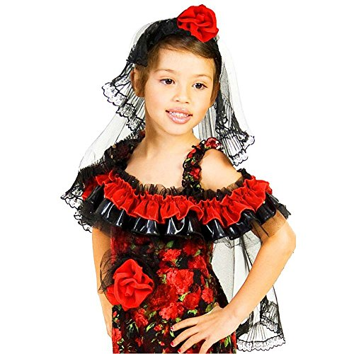 Kids Red Rose Spanish Dancer Headband Veil - One Size