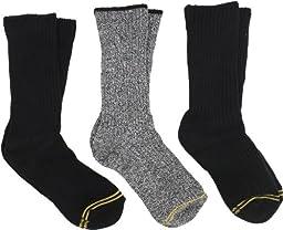 Gold Toe Big Boys\'3 Pack Cotton Crew Sock, Black Assorted, Medium