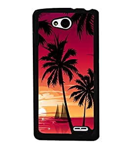 printtech Beach Palm Trees Boat Back Case Cover for LG L90
