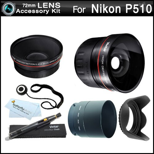 72Mm Wide Angle Telephoto Lens Kit For Nikon Coolpix P510 Digital Camera Includes Necessary Tube Adapter (72Mm) + Hd .43X Wide Angle Lens + 2.2X Telephoto Lens + Lens Hood + Lens Pen Cleaning Kit + Lens Cap Keeper + Microfiber Cleaning Cloth
