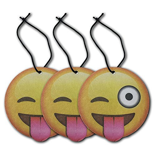 Emoji Tongue Out Wink Air Freshener Pina Colada Scent 3-Pack (Yellow Air Freshener compare prices)