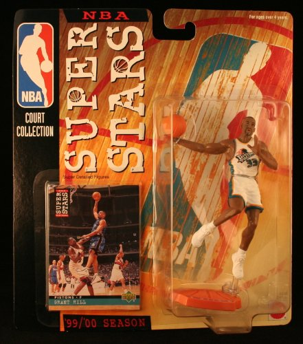 GRANT HILL / DETROIT PISTONS * 99/00 Season * NBA SUPER STARS Super Detailed Figure, Display Base & Exclusive Upper Deck Collector Trading Card - 1