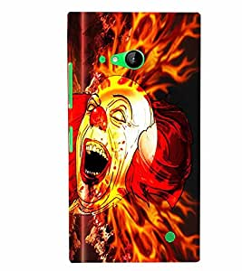 PrintVisa Modern Art Clown Fire 3D Hard Polycarbonate Designer Back Case Cover for Nokia Lumia 730