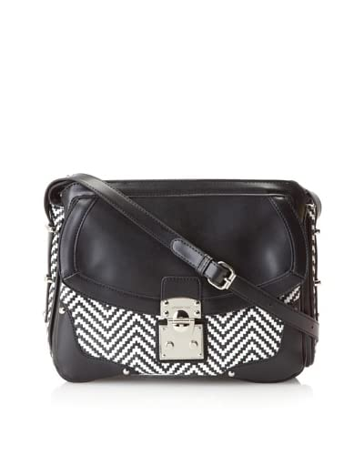 London Fog Women's Bedford Straw Shoulder Bag  [Black/White]