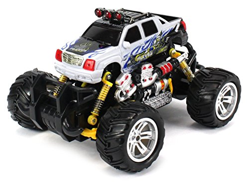 Cadillac Escalade Ext Electric Rc Graffiti Style Off Road Monster Truck, Includes Rechargeable Batteries, 1:18 Scale, 4 Wd, Rtr, Working Hinged Spring Suspension, Drifts Like A Pro (Colors May Vary)