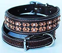 Large Bling Rhinestone Dog Puppy Collar Crystal Western Cow Leather 6015