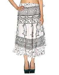 Vinatge Designs Rayon Casual Skirt White Calf Abstract Hand Block Printed By Rajrang