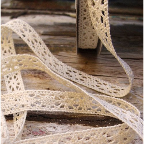 "1/2"" Crochet Lace Cotton Ribbon Trim Pattern Gift Wrap Decor Ideas 10 Yard Roll - Ivory"