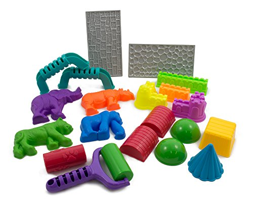 Sands Alive! 18 Piece Deluxe Molds Set - Safari Animals, Mini Castles and Geometric Shapes (Sand not included) Compatible with Sands Alive!, Kinetic Sand, Brookstone Sand, Moon Sand, Any Molding Sand (Squishy Sand Play Tray compare prices)