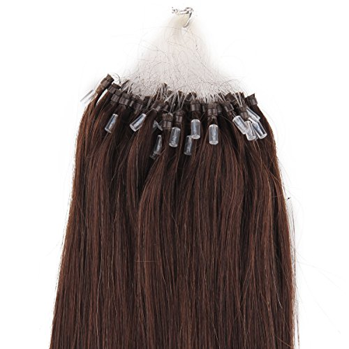 "Beauty7 18"" 20"" 22"" 24"" Loop Micro Ring Beads Tipped Remy Human Hair Extensions 100G 100S 1G/S #2 Dark Brown (18"" 1G/S) front-538580"