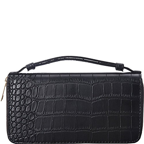 rebecca-rifka-croc-embossed-zip-around-wallet-black